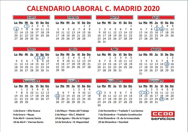 CALENDARIO 2020 MADRID